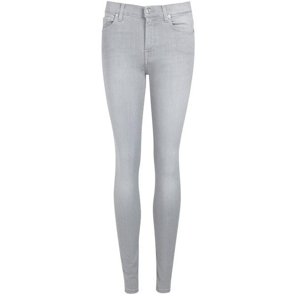 Womens Skinny Jeans 7 For All Mankind Illusion Mirage Grey Skinny... (€265) ❤ liked on Polyvore featuring jeans, skinny fit jeans, skinny jeans, high-waisted jeans, high rise jeans and gray skinny jeans
