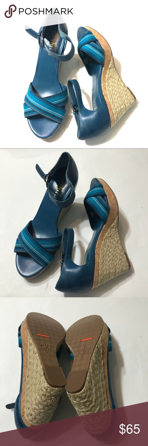"New Cole Haan Nike Air Wedge Espdarilles Brand new, no box; Sz 9B; Heel ht 4""; Ankle Strap; Dark teal; Wedges; SCH Cole Haan Shoes Wedges"