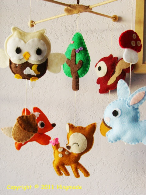 Felt woodland creatures hanging mobile by hingmade