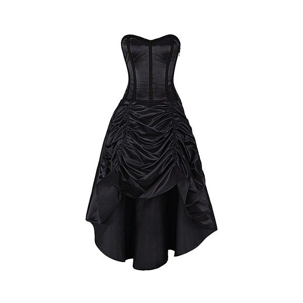 Annamaria Black Gothic Corset Dress Authentic Steel Boned ❤ liked on Polyvore featuring dresses, bone corset, steel corset, lace up corset, lace up dress and front lace corset