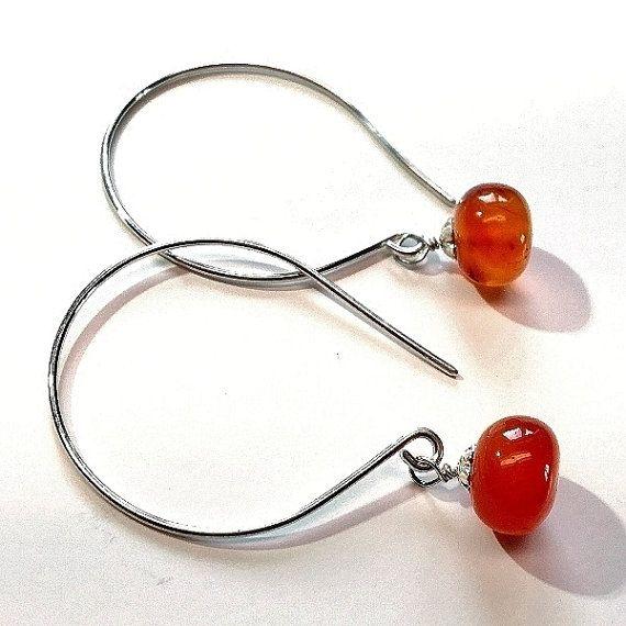 #Sterling #silver natural orange ##carnelian #earrings. #handmade #jewelry #women # jewellery by Emmalishop