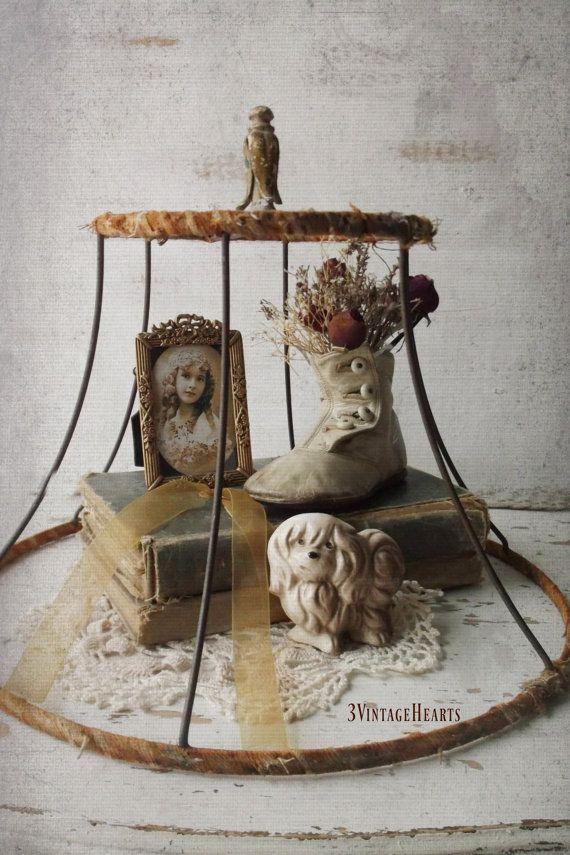 Rusty Wire Cloche. French Shabby Chic Flea Market Display. Antique Rusty lamp shade Cloche. Salvage Unique Cloche.