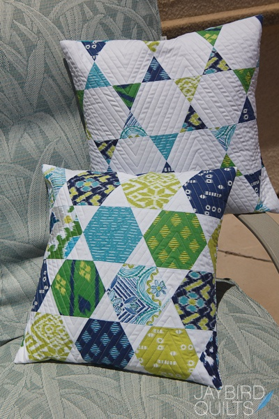 What a great set of hexagon pillows. How about make one on the front, and one on the back, for two great looks.