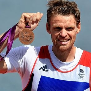 Alan Campbell with bronze medal for single sculls / rowing