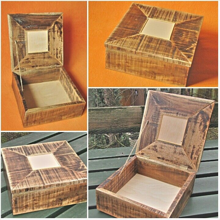 Wooden box made of oak euro-palette found in sideway. 30x30x12 cm with beige ceramic tile inlayed on top.