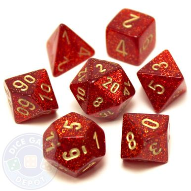 Each bright, glittery ruby-colored dice set contains the following: 1 four-sided dice (d4) 1 six-sided dice (d6) 1 eight-sided dice (d8) 1 ten-sided dice (d10) 1 percentile dice (d%) 1 12-sided dice (