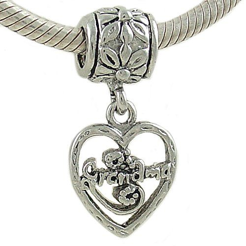 $13.99 This silver plated Grandma Heart Dangle Bead Charm makes the perfect gift. This bead is threaded and compatible with major brand Cable European Charm Bracelets, including Silverado, Ohm, Biagi and Zable.: Charm Bracelets, Plated Grandma
