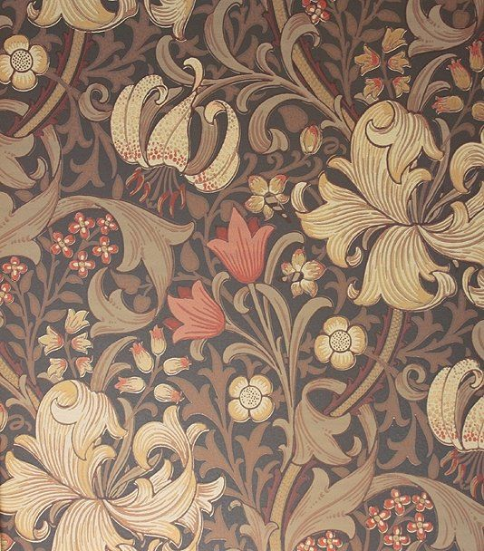 Golden Lily Wallpaper A classic William Morris wallpaper floral lilies in gold, cream red on a chocolate background