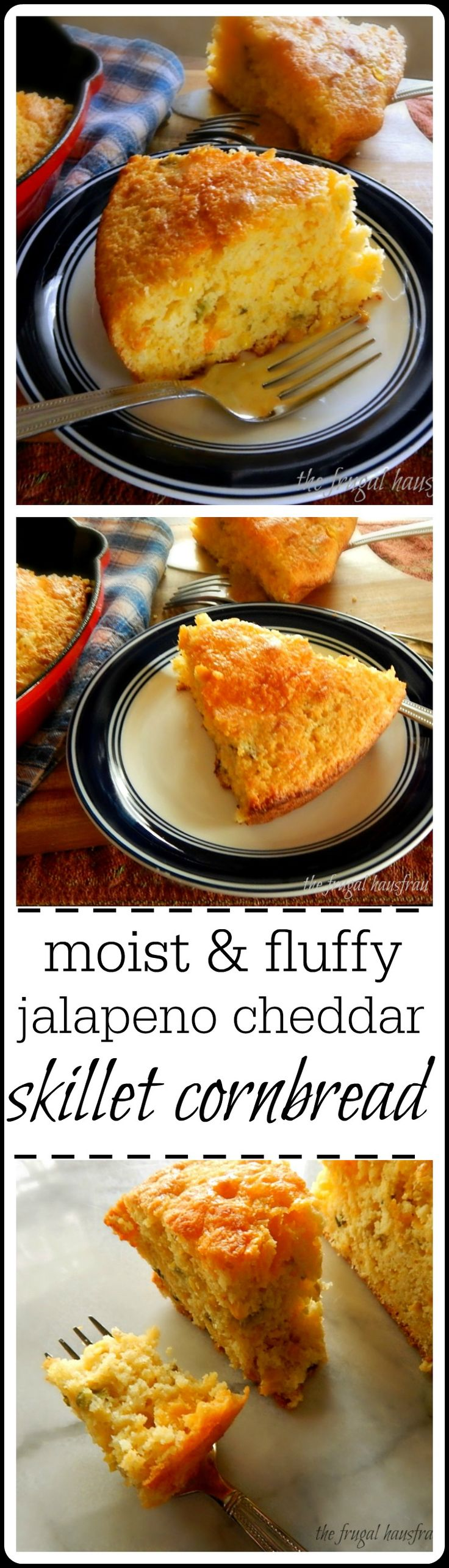 This easy Skillet Cornbread is super moist, light fluffy and cheesy with a bit of a bite from the roasted jalapeno. You won't be able to stop eating it!