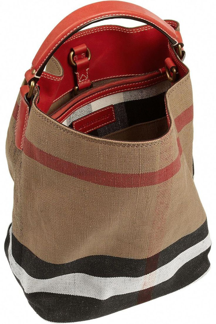 BURBERRY SHOES & ACCESSORIES Checked canvas hobo bag 595    USD   Burberry's signature check hobo bag is a savvy choice. Crafted from thick canvas and with a sturdy red leather base, this spacious style includes a removable pouch to keep you organized. Go hands-free with the detachable shoulder strap. #Burberryhandbags – Taschen Designer Handbags