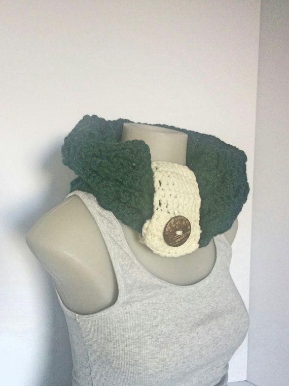 Crochet Forest Green Cowl Crocheted Cowl Cozy by TillysCozyHooks #crochetcowl#knittedcowl#cozycowl #uniquecowl#winterfashion#winterstyle #winterfashion#wintermusthave#infinityscarf #infinitycowl#infinityscarves#ladiesfashion #ladiesscarves#ladiescowl#womensscarves #womenscowl#forher #greencowl