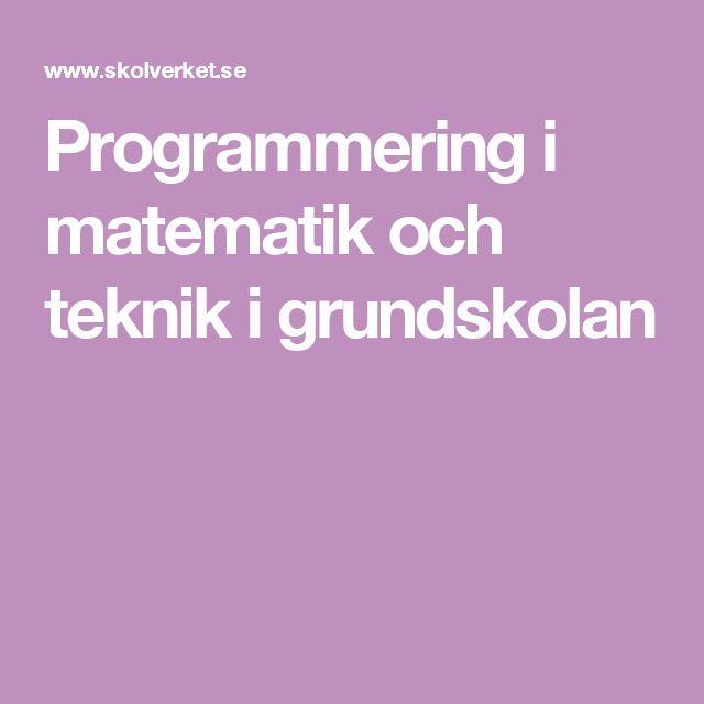 Programmering i matematik och teknik i grundskolan