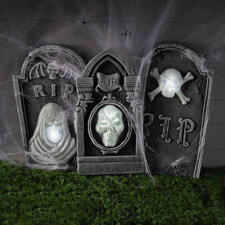 3 illuminated deathly gravestone props