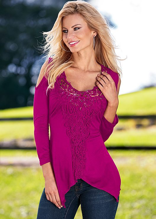 Fuchsia Crochet cold shoulder top from VENUS. Sizes XS-XL!