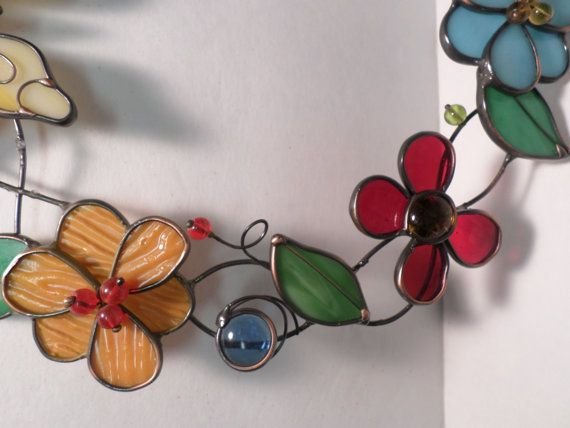 Butterfly and Flower Stained Glass Wreath