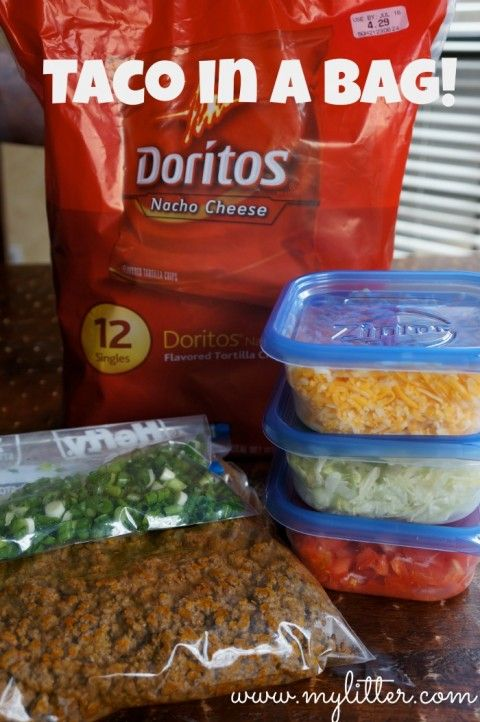 Taco Salad In A Bag! – Perfect for camping and kids!Fair Food, Camping Lunch, Walking Tacos, Camp Dinner, Camping Food, Walks Tacos, Tacos Salad, Taco Salads, Camping Recipes