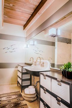 Paint stripes on wall; repeat stripes in tile. Good idea for making wall seem less excessively tall. Could put photos or other art in space between stripes.