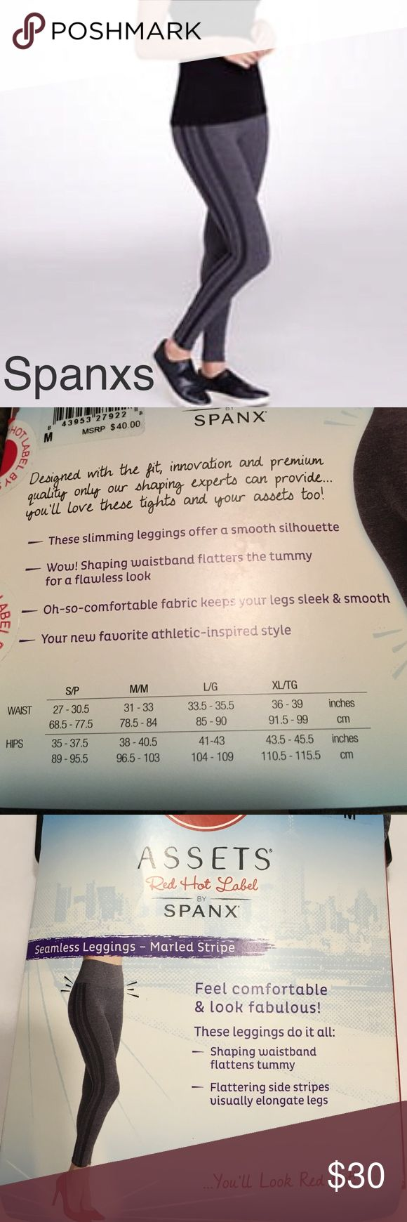 Assets Red Hot Label by Spanxs leggings Assets Red Hot Label by Spanxs leggings. Two tone grey marled stripe. Shaping waistband flattens tummy. Flattering side stripes visually elongate legs SPANX Pants Leggings