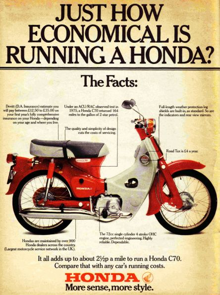 Honda C 70, Großbritannien 1972. My second bike and an excellent little machine, unfortunately a collision with Sabb put us both out of commission for a while....