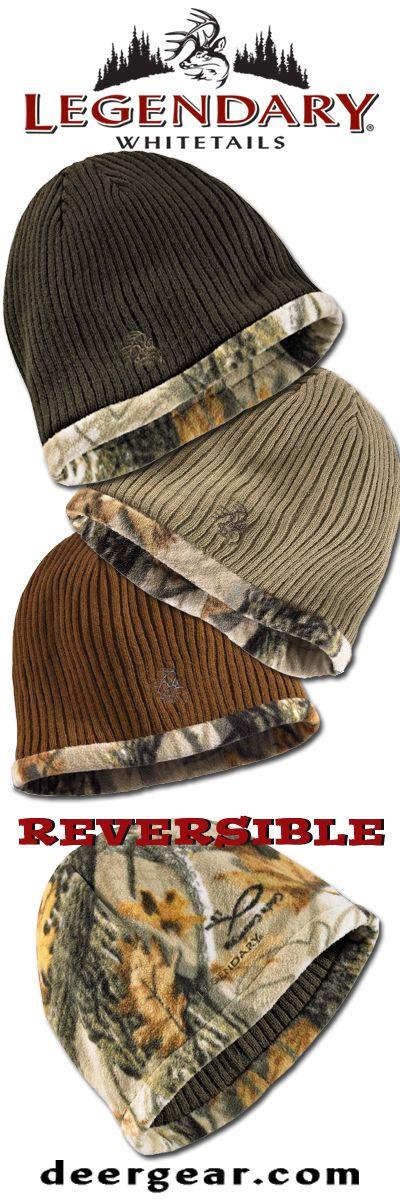 Men's Trophy Buck Reversible Knit Camo Hat  deergear.com #LegendaryWhitetails