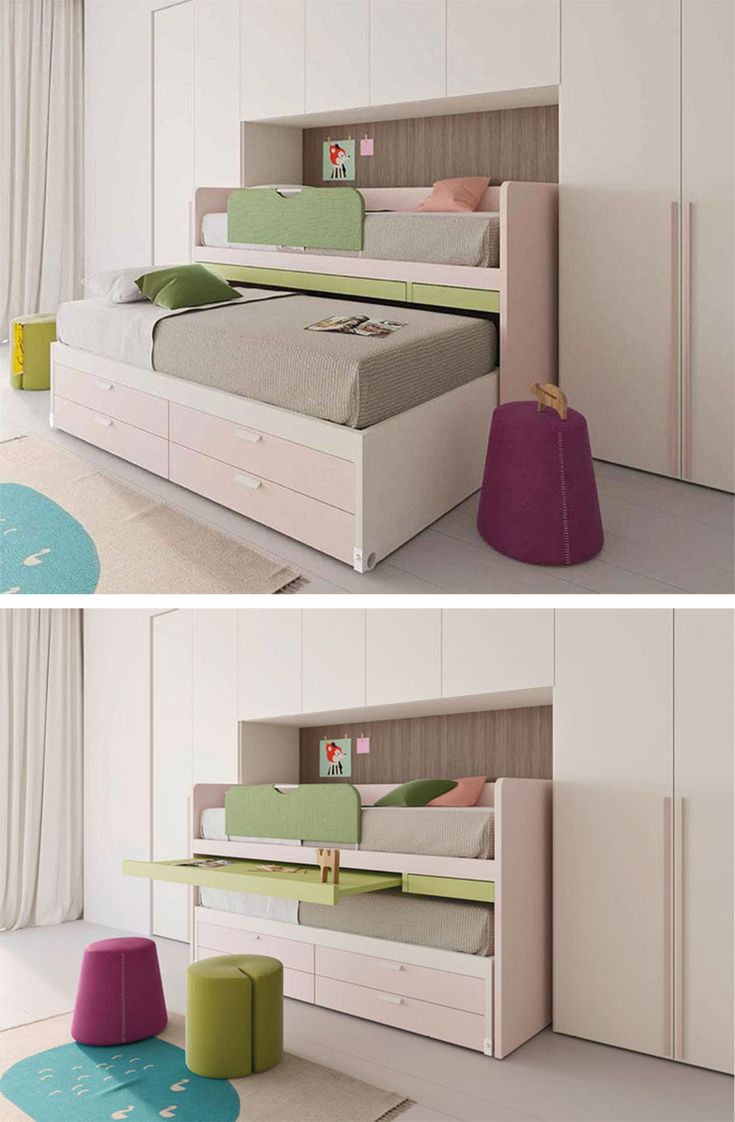 Battistella, collection Nidi 17    Under bed storage fitted with drawers, and two sliding shelves which you can use as a writing desk or bedside table. This is how you can make the most of even the smallest of rooms.