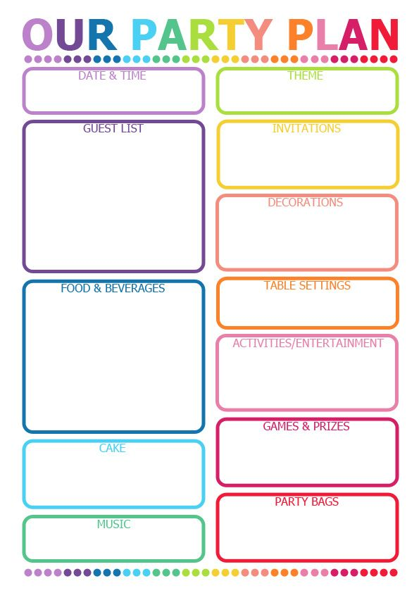 Handy kids birthday party planner - it's printable
