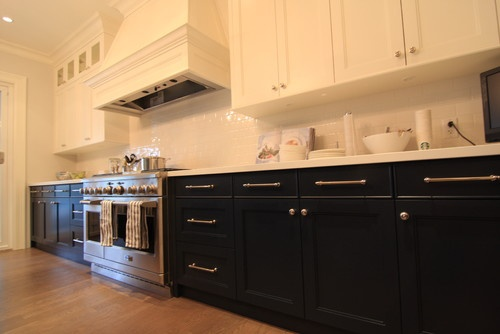 Pondering Two Tone Kitchen Cabinets Black Or Dark Brown Bottom With Cream Of White Top For