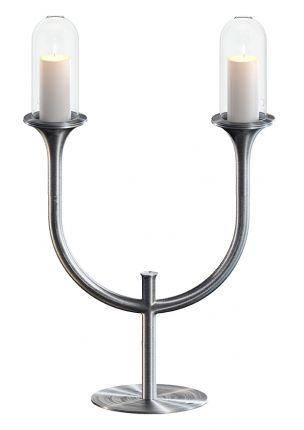 RiZZ Kandelaar RVS 'Duet'. Smaakvolle kandelaar in minimalistisch design, voor twee kaarsen.