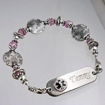 Medical Alert Bracelets Stylish To The Medics In An Emergency Free Engraving Item Cr31p Full Circle Pee Id Bracel