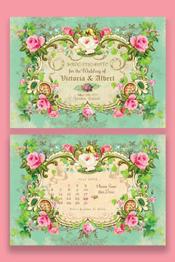 Victorian wedding save the date postcard available in printed card stock, fridge magnet or print at home  pdf via email 👰 