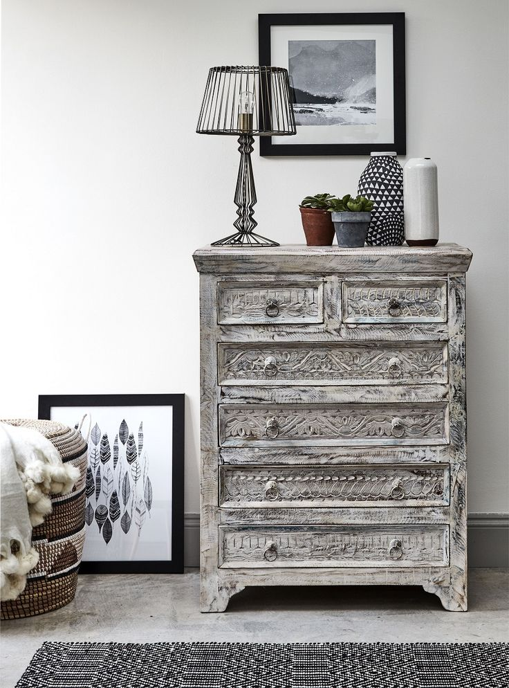 Nordic-inspired bedroom furniture and chic monochrome details make the perfect match. Get the look with the upcycled Little Tree Furniture White Leaf Chest of Drawers, made from recycled timber from old building structures, boats and fortress doors.