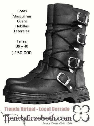botas rockeras metaleras masculinas cuero hombre zapatos calzado hebillas punk dark gothic heavy metal rockeros colombia medellin cali pasto pereira