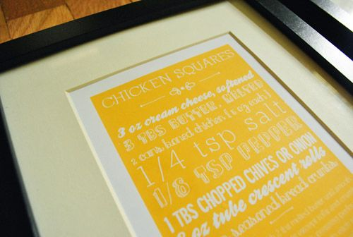 Frame your printed recipes! What a great gift. Love from @Sherry @ Young House Love