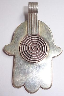 SILVER Enamel Moroccan Berber Hamsa Hand Amulet Talisman Spiral of Life PENDANT | eBay
