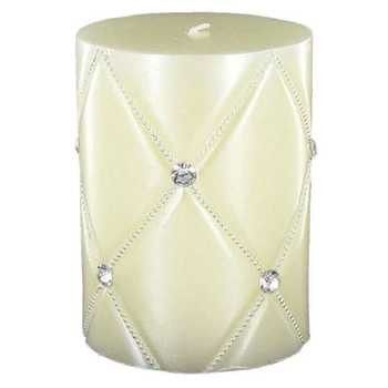 "Ivory 3"" x 4"" Quilted Metallic Pillar Candle with Bling"