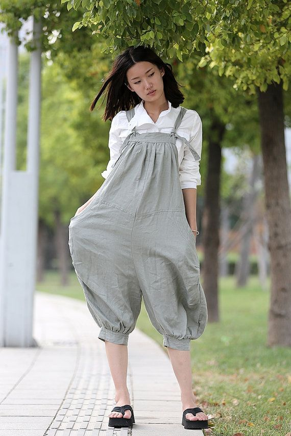 Gray Linen Womens Dungarees  Casual Loose-Fitting by YL1dress