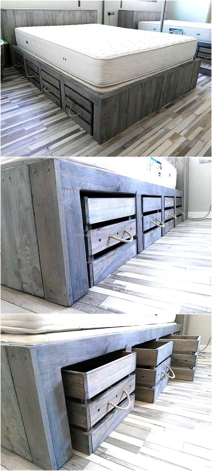 Best 25 wooden pallet beds ideas on pinterest pallet for Pallet platform bed with storage