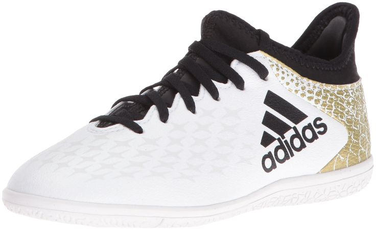 adidas Performance Kids' X 16.3 Indoor Soccer Cleats, White/Black/Metallic Gold, 13.5 M US Little Kid. Techfit compression upper molds perfectly to your foot with zero wear-in time. Move with explosive speed and traction on flat, indoor surfaces with the indoor-specific chaos outsole. High speed chaos for the game changer.