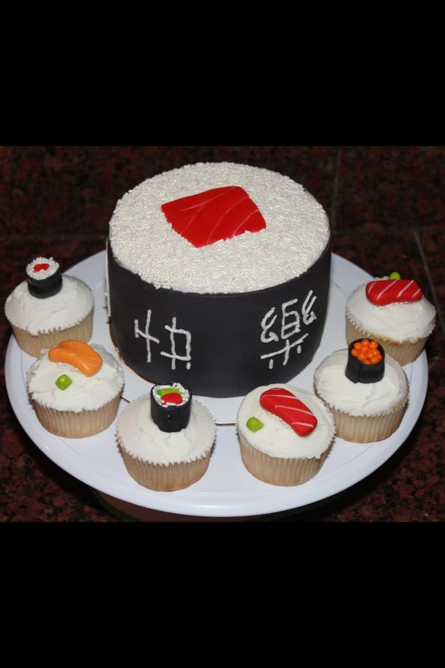 Sushi roll cake with sushi cupcakes