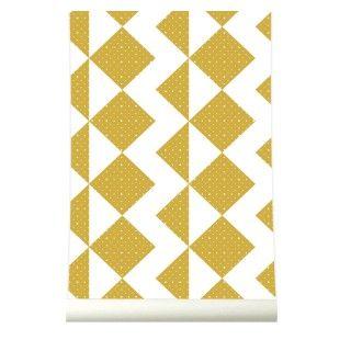 Behang Zigzag Mustard is wallpaper as quilt inspiration....