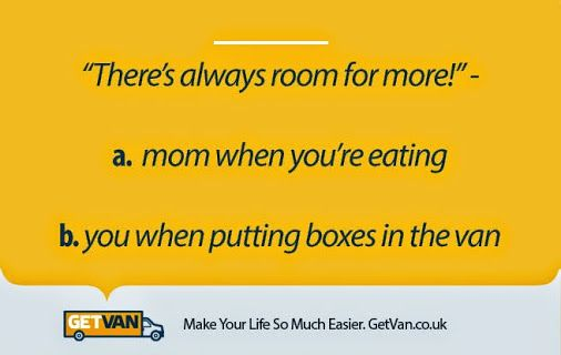Words Of Wisdom:  Listen to your Elders, it's nice to #NomNom If you want your belonging to be save and sound try not to put too much boxes in the Van!  #GetVan #WordsOfWisdom #Elders #Boxes #Packing #SaveAndSound #ManAndVan #Food
