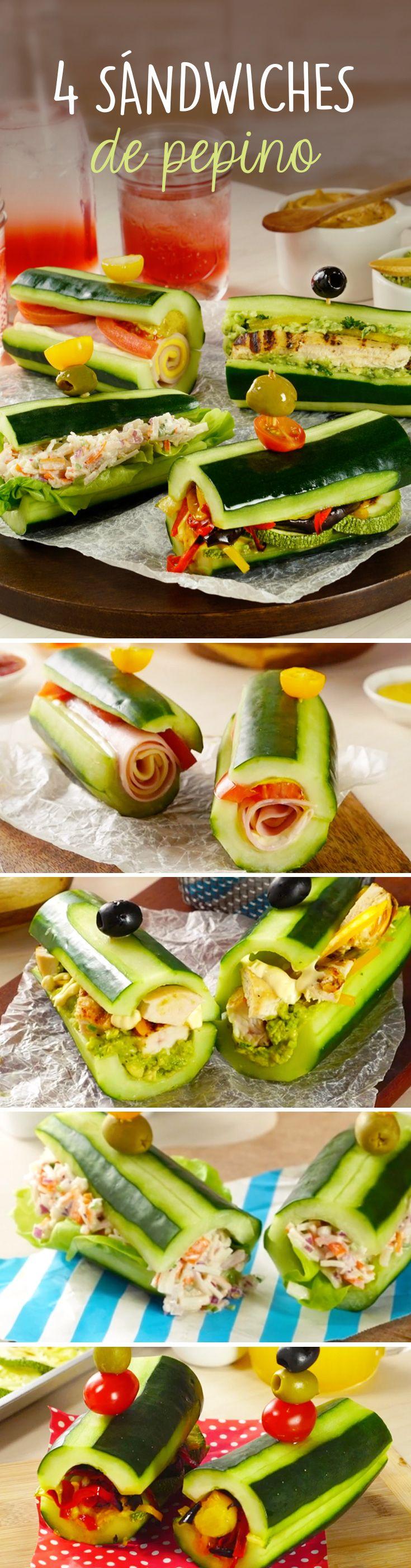 Receta baja en carbohidratos de pepinos rellenos a forma de sándwich saludable de jamón y queso, una fresca ensalada de surimi, pollo con guacamole o el de verduras rostizadas al horno con un toque picosito de hummus.