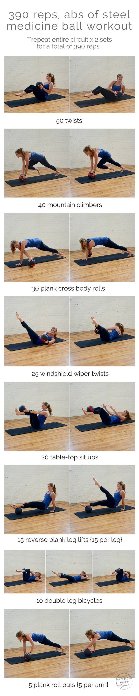 390 reps, abs of steel medicine ball workout   Incorporate this 390 rep medicine ball ab routine into your cardio and strength training to sculpt a tighter torso and flatter abs.
