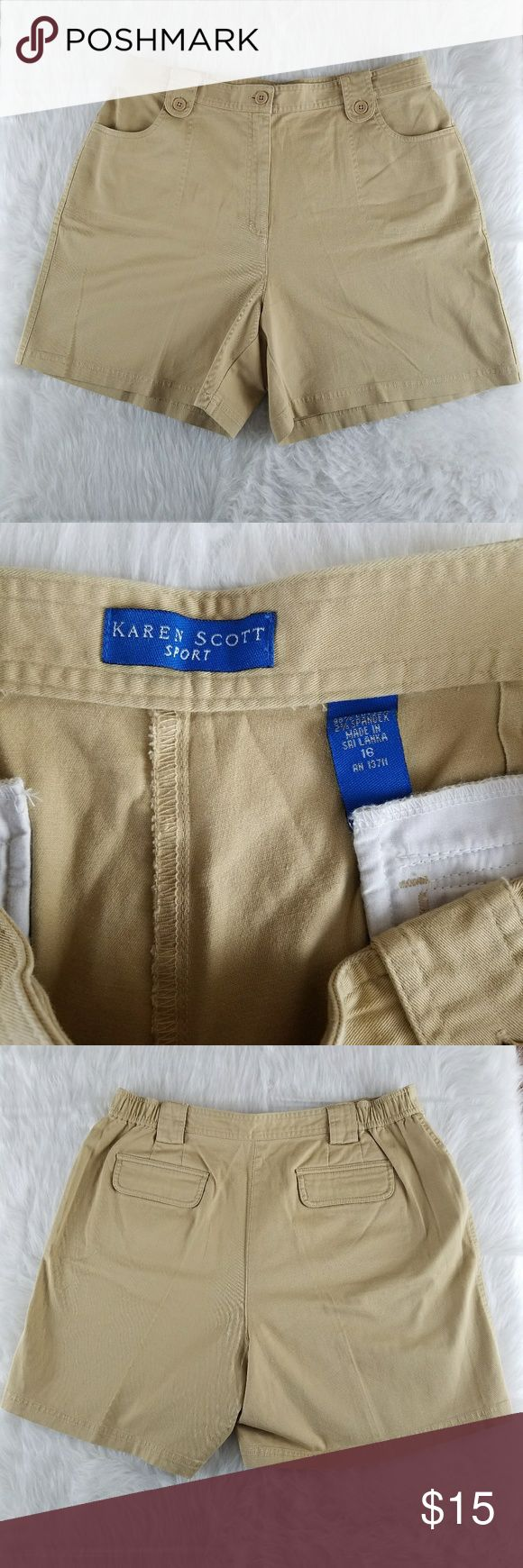 Karen Scott Sport shorts size 16 These are Karen Scott.Sport shorts in a khaki brown tan color. SIZE 16 Karen Scott Shorts
