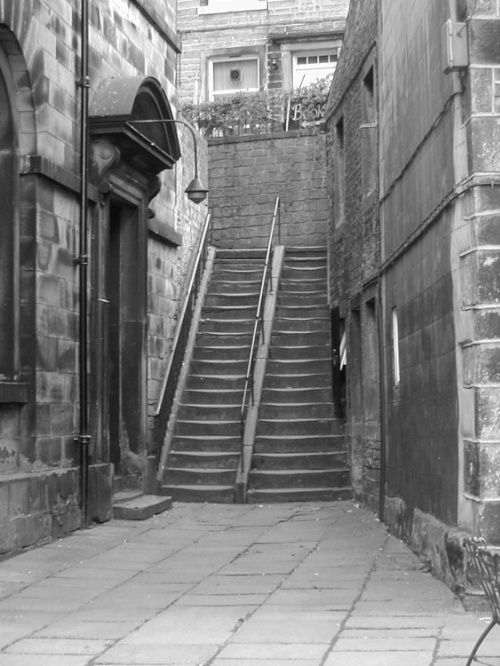 A picture of Holmfirth Holmfirth, West Yorkshire. The well-traveled stairs leading down to the Cafe from the popular TV comedy 'Last of the Summer Wine'.