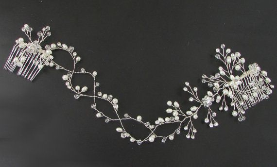 Long Silver White Bead Flower Hair Comb Wire by Starcrossedbeauty