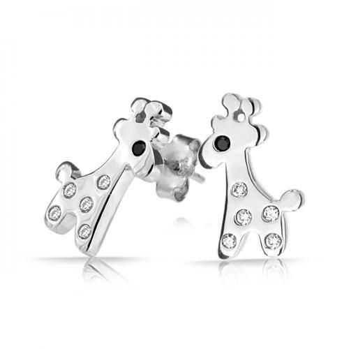 Bling Jewelry 925 Sterling Childrens Tiny Giraffe Stud Earrings Clear Black CZ
