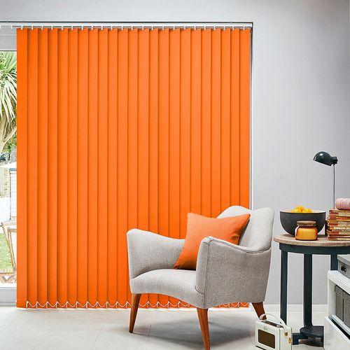 Brushford Cinnabar is a blackout vertical blind in an orange colour