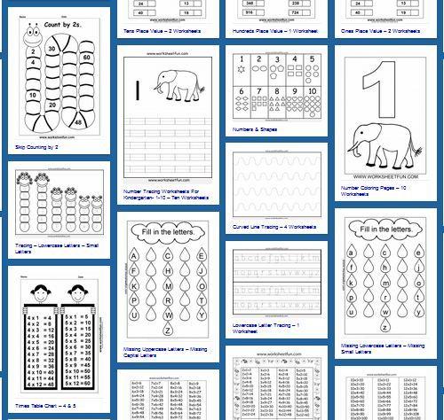 Worksheetfun ist wie eine Pinnwand aufgebaut. Darauf sind Vorschaubilder zu den einzelnen Arbeitsblättern - Zahlen, Buchstaben, Rechnen, Figuren, usw.