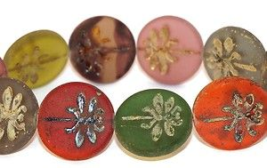 10 Czech Glass Beads Antique Rondelle Dragonfly Matte Picasso Original Exclusive Authentic Tschechische Perlen 23 mm